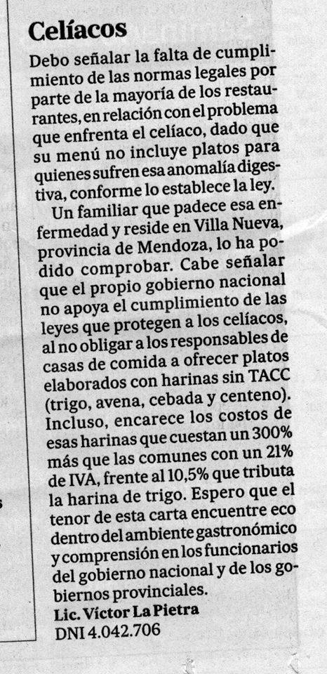 Ley Celiaca, diario